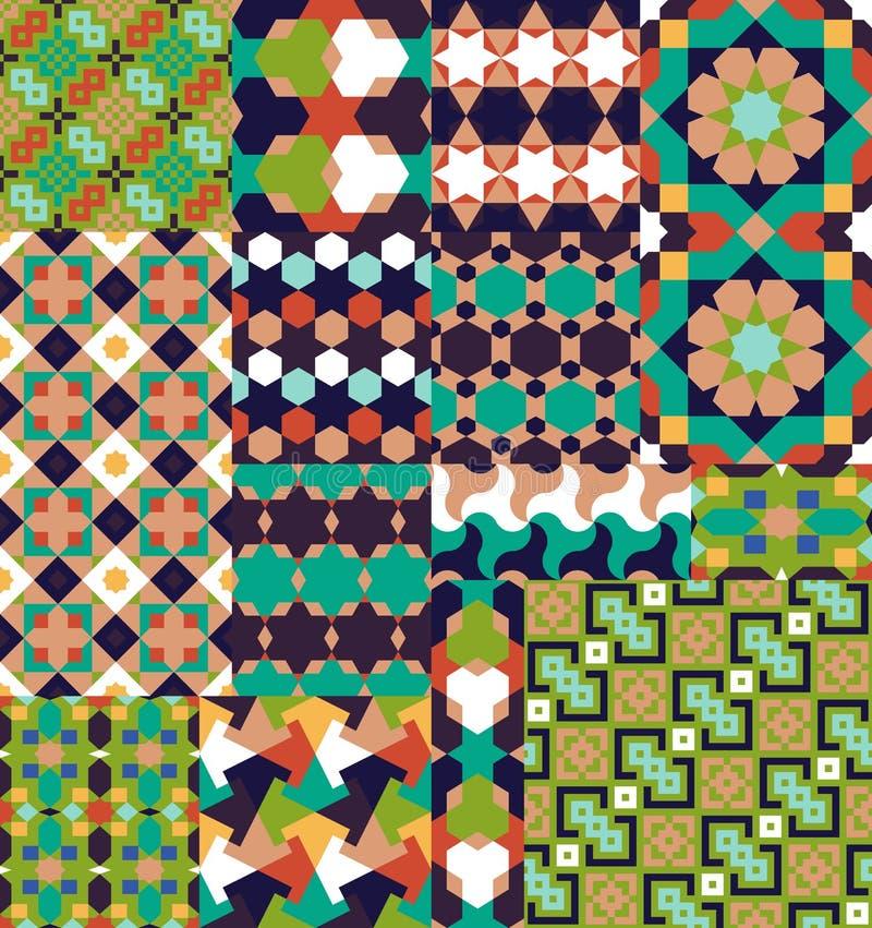 Sömlös modelluppsättning i marockansk stil vektor illustrationer