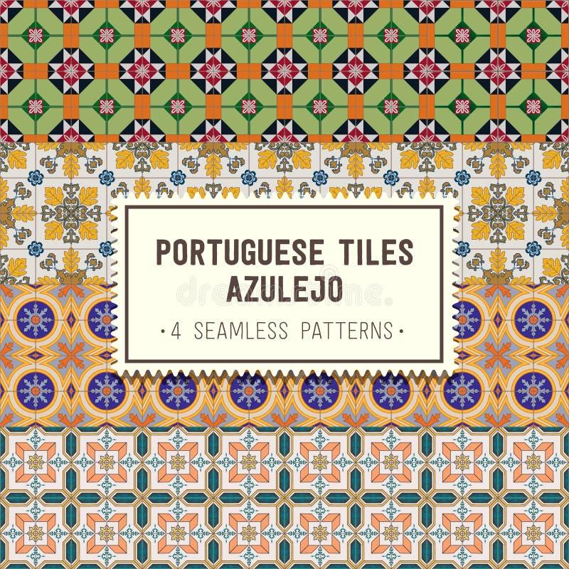 Sömlös modelluppsättning med portugisiska tegelplattor Azulejo vektor illustrationer
