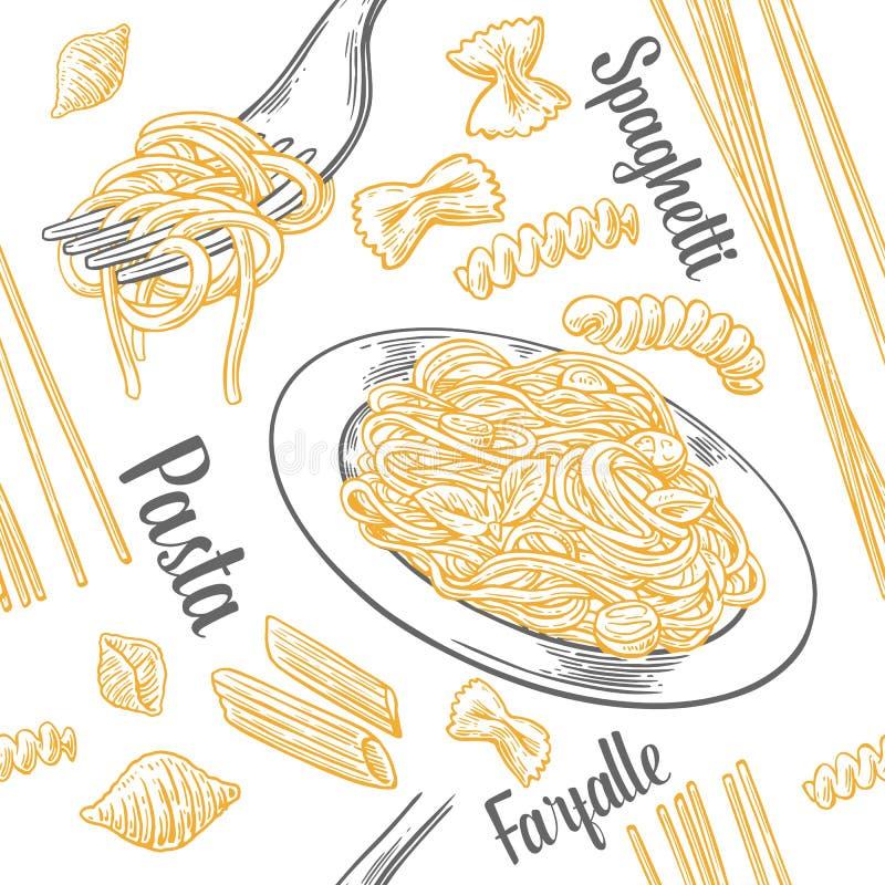Sömlös modelluppsättningpasta med titel Farfalle, conchiglie, penne, fusilli och spagetti på gaffel stock illustrationer