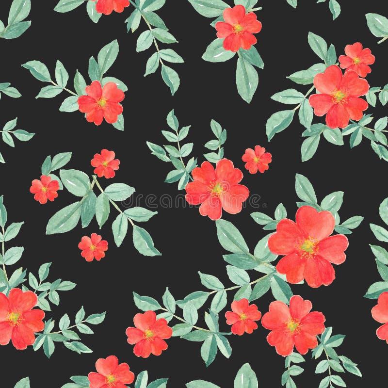 Sömlös modellvattenfärg av den röda rosen och gröna sidor på svart, hand målad växtillustration för modetextil royaltyfri illustrationer