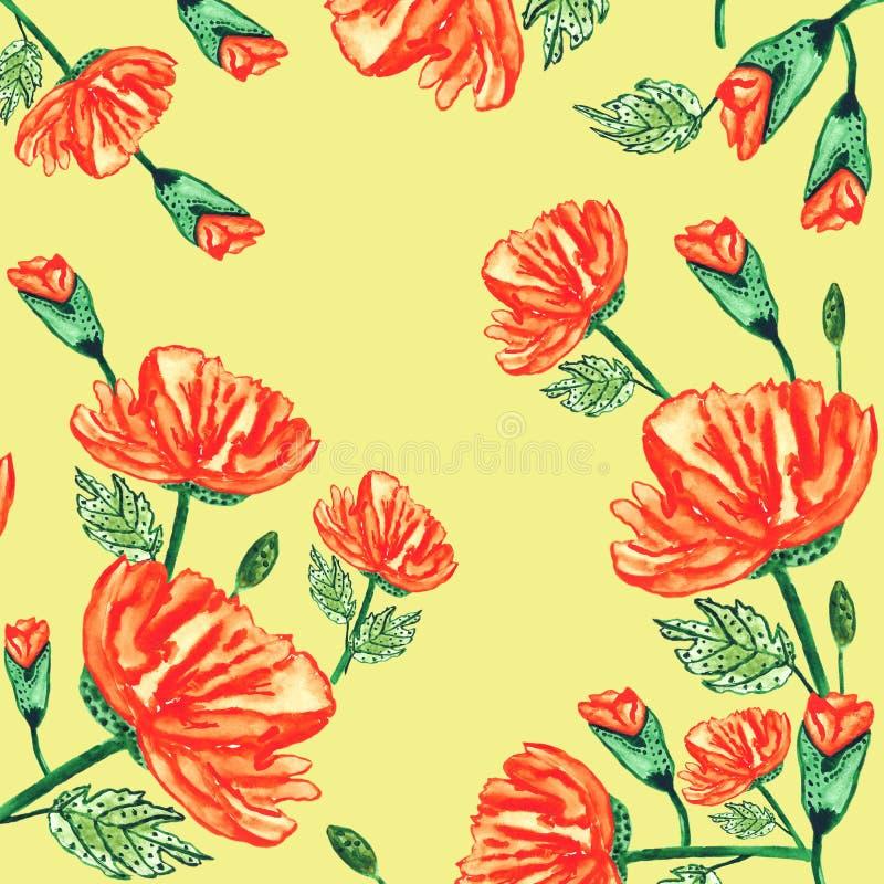 Sömlös modellvattenfärg poppies-3 H?rlig modell f?r garnering och design Utsökt modell för design av royaltyfri illustrationer
