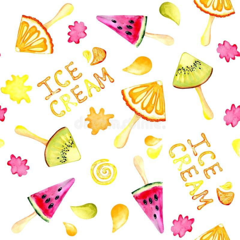 Sömlös modellvattenfärgbakgrund med bilden av en kiwi, apelsin, vattenmelon, glass Saftig trämassa och frö för royaltyfria bilder