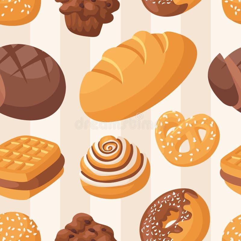 Sömlös modellvektor för bageri royaltyfri illustrationer