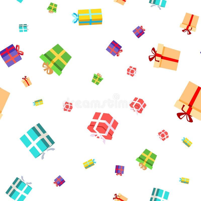 Sömlös modellvektor för gåva Födelsedag julferieparti Packeräkning Gullig grafisk textur textilbakgrund stock illustrationer