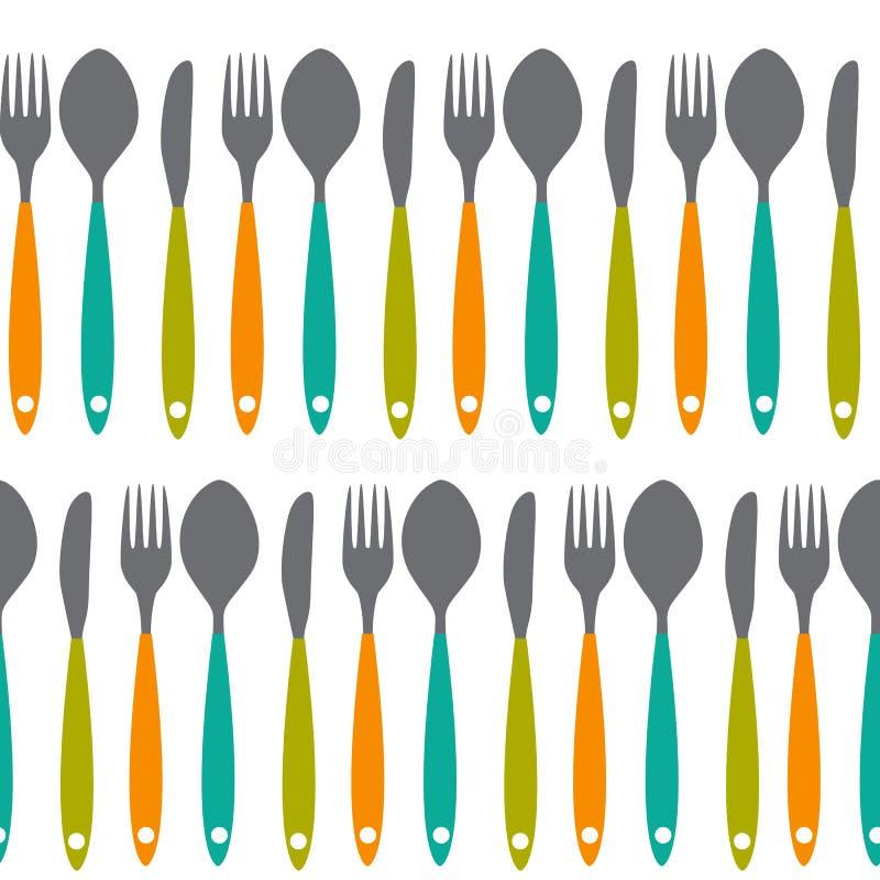 Sömlös modellvektor för gaffel, för kniv och för sked vektor illustrationer