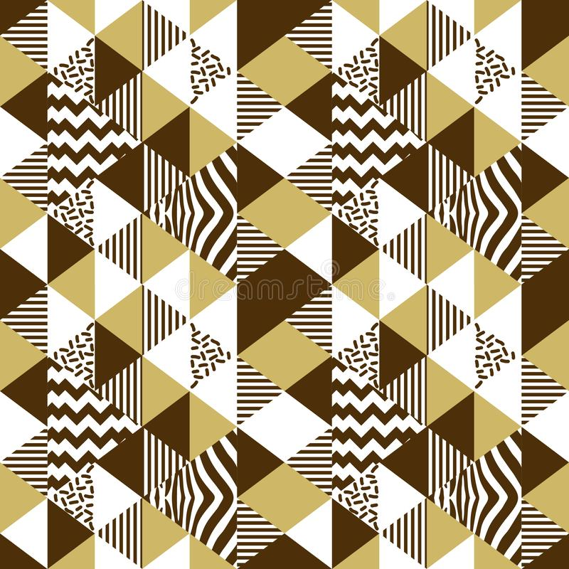 Sömlös modellvektor för geometrisk triangel med guld- färger Gul guld- lyxig vektor för bakgrund för memphis 90-talabstrakt begre stock illustrationer