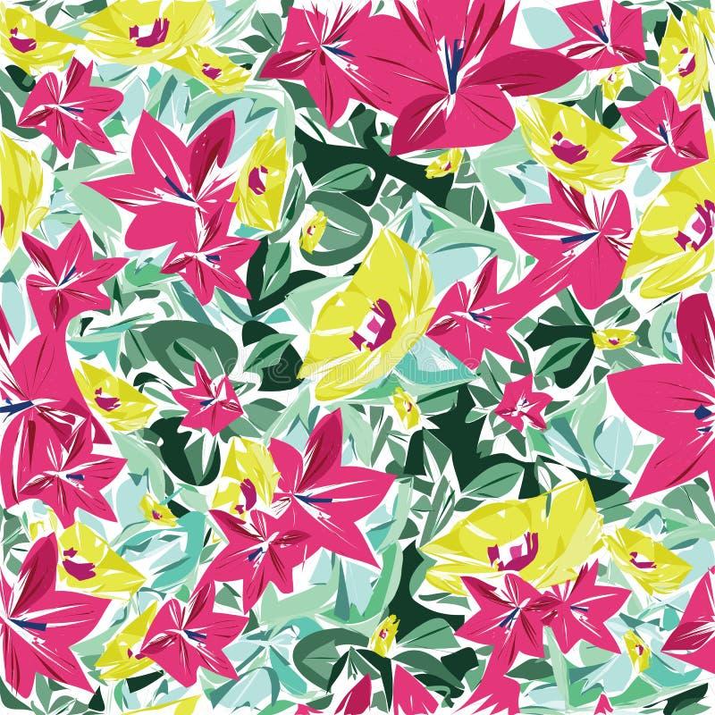 Sömlös modellvektor för härliga och färgrika blommor vektor illustrationer