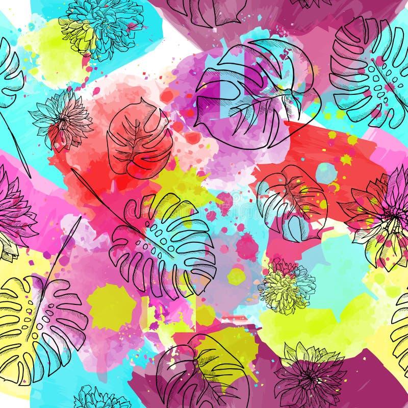 Sömlös modellvektor för härliga och färgrika blommor royaltyfri illustrationer