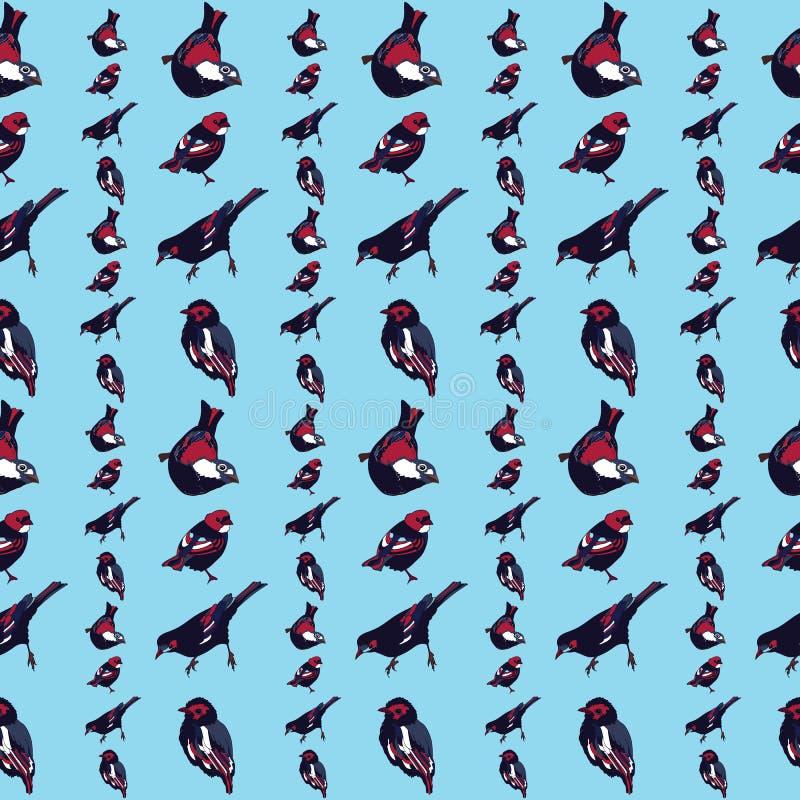 Sömlös modellvektor för härliga och färgrika fåglar stock illustrationer