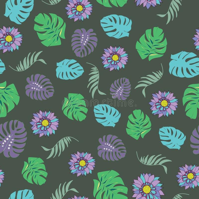 Sömlös modellvektor för härliga och färgrika tropiska blommor vektor illustrationer