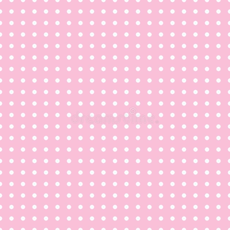 Sömlös modellvektor med vita prickar på rosa färgfärgbakgrund för skrivbords- tapet, rengöringsdukdesign, kort, inbjudningar, wed vektor illustrationer