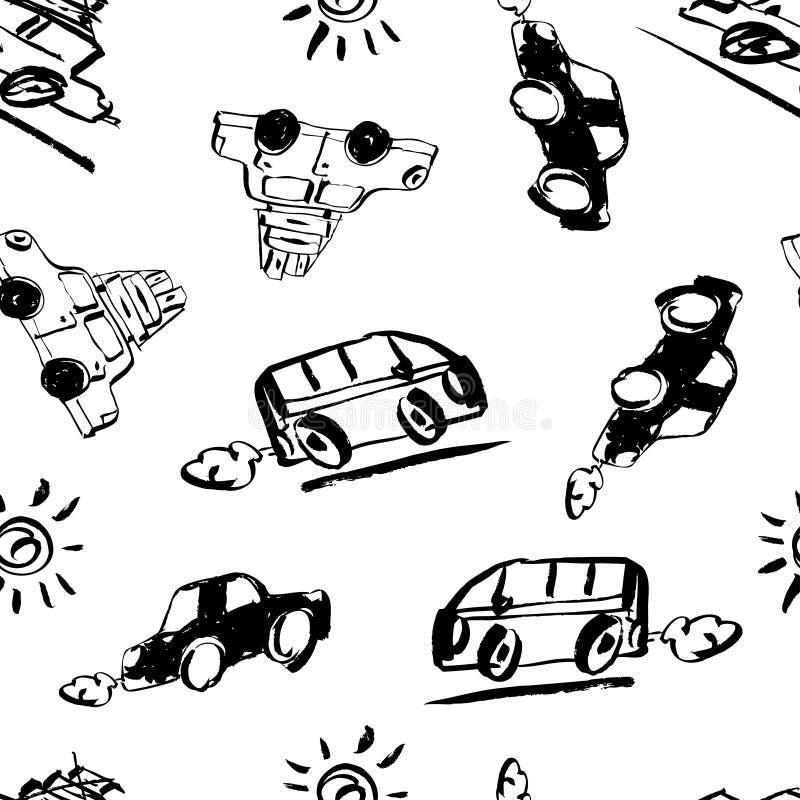 Sömlös modellvektorillustration Handen drog retro bilen med resväskor och skriftlig bokstäver för hand av Lets går loppet vektor illustrationer