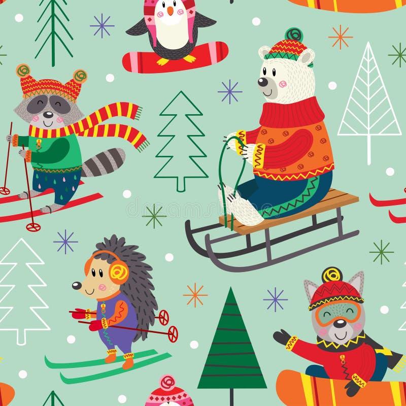 Sömlös modellvintergyckel med djur på släden, skidar, snowboarden royaltyfri illustrationer