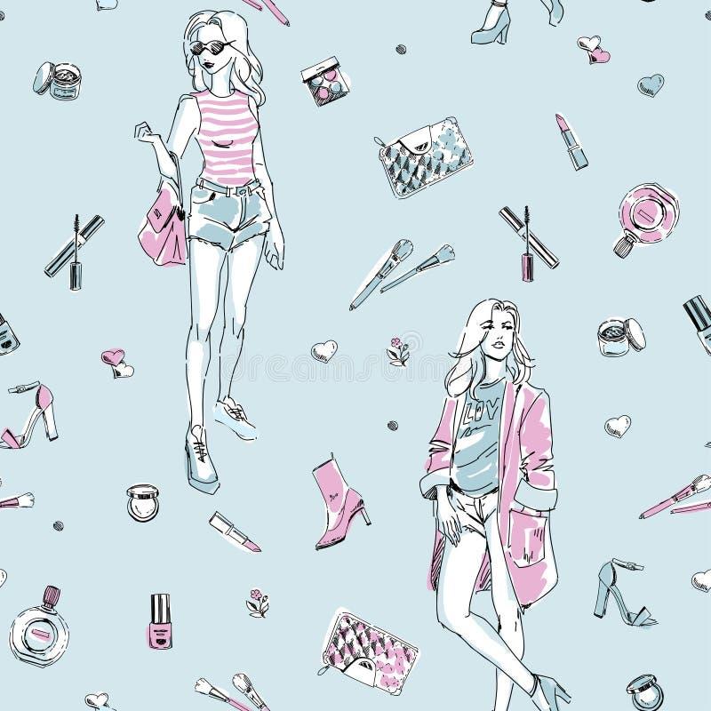 Sömlös modemodell med folk, flickor, skönhetsmedel och tillbehör vektor illustrationer