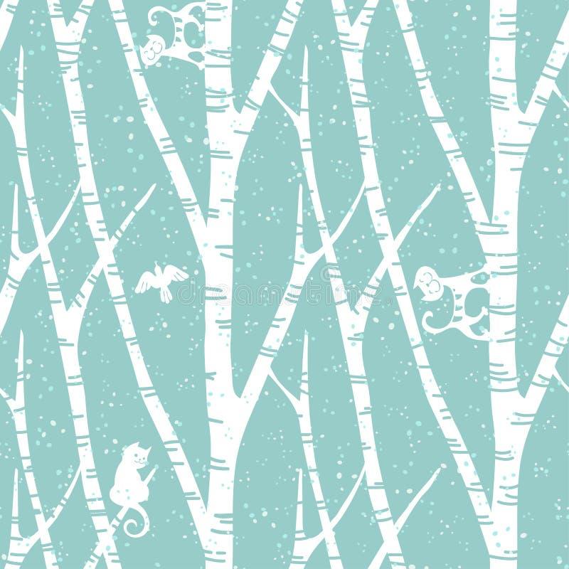 Sömlös moderiktig modell med abstrakta björkträd, katter och fåglar Blom- tappningtapet Fanny vektorillustration vektor illustrationer