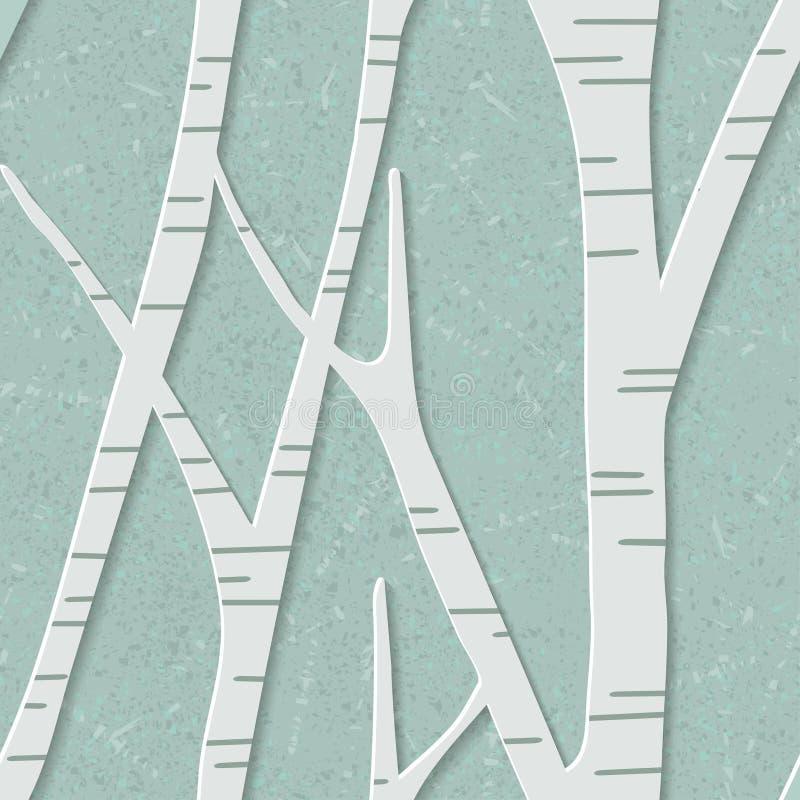 Sömlös moderiktig modell med björkträd Blom- modern tapet 3D också vektor för coreldrawillustration stock illustrationer