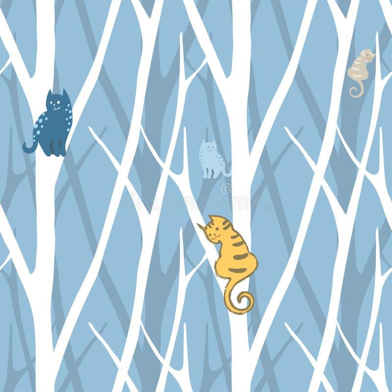 Sömlös moderiktig modell med träd och katter Blom- tappningtapet Fanny illustration stock illustrationer