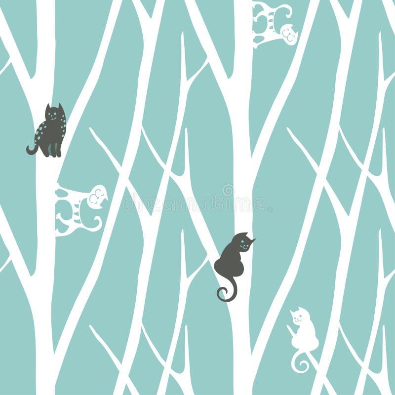 Sömlös moderiktig modell med träd och katter Blom- tappningtapet Fanny vektorillustration vektor illustrationer