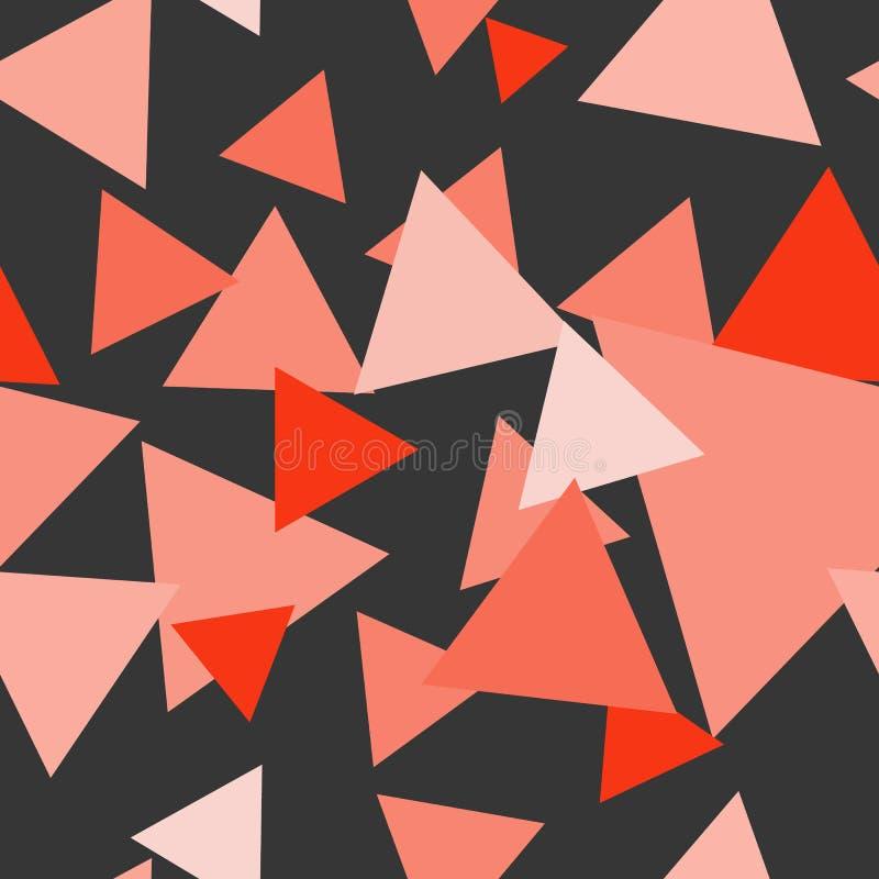 Sömlös modern abstrakt koralltriangelmodell royaltyfri illustrationer
