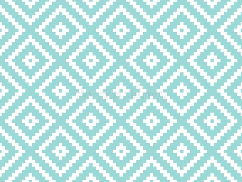 Sömlös modern stilfull textur och modell Vit som upprepar geometriska tegelplattor med den prickiga romben på en turquorisebakgru stock illustrationer