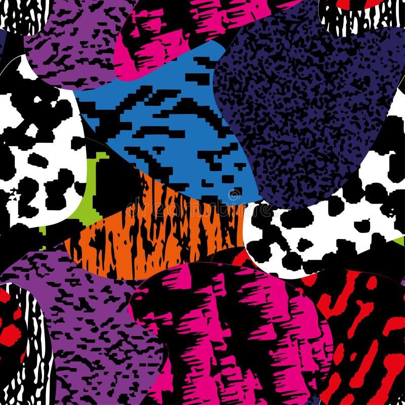 Sömlös modern texturerad färgrik grungemodell Bakgrund med den grafiska prydnaden för mång--färg kombinationer EPS10 royaltyfri illustrationer