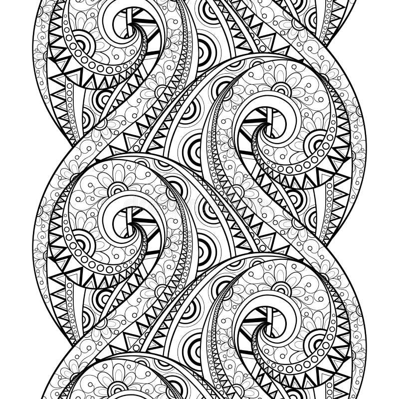 Sömlös monokrom blom- modell för vektor royaltyfri illustrationer