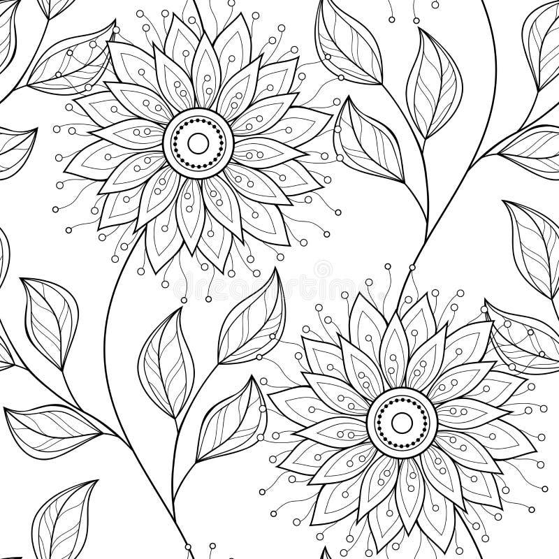 Sömlös monokrom blom- modell för vektor stock illustrationer