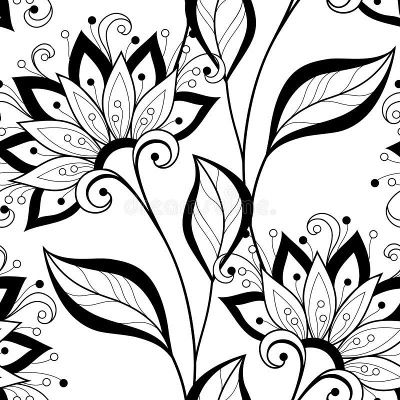 Sömlös monokrom blom- modell för vektor vektor illustrationer