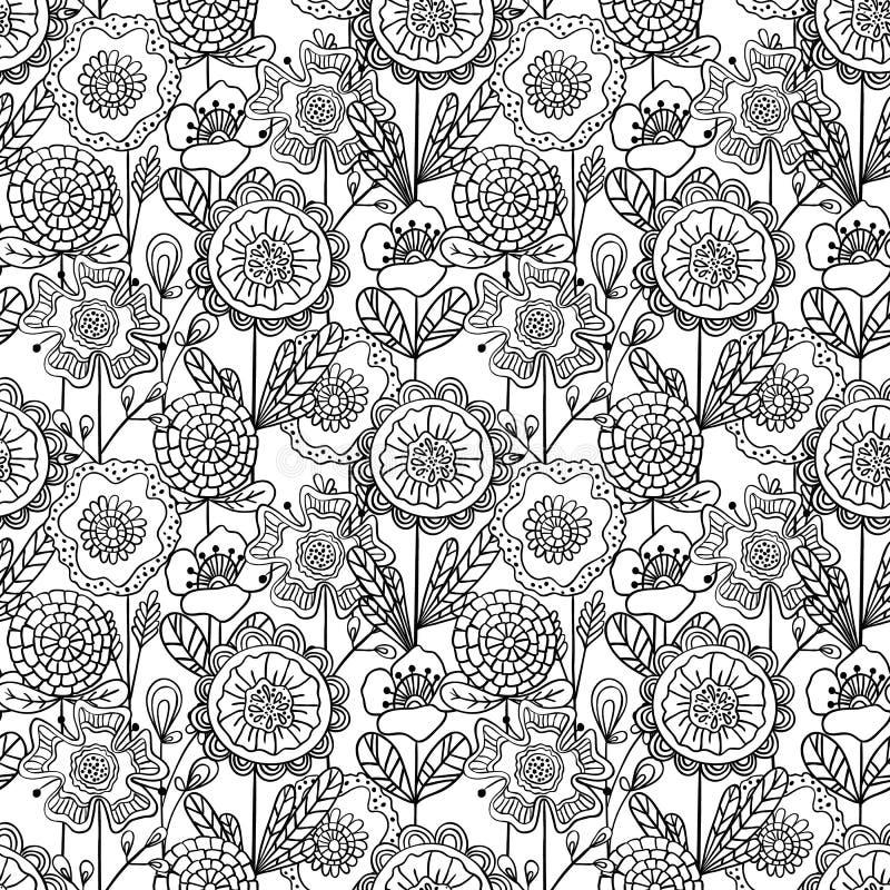 Sömlös monokrom blom- modell för vektor Hand dragen klotterflo stock illustrationer