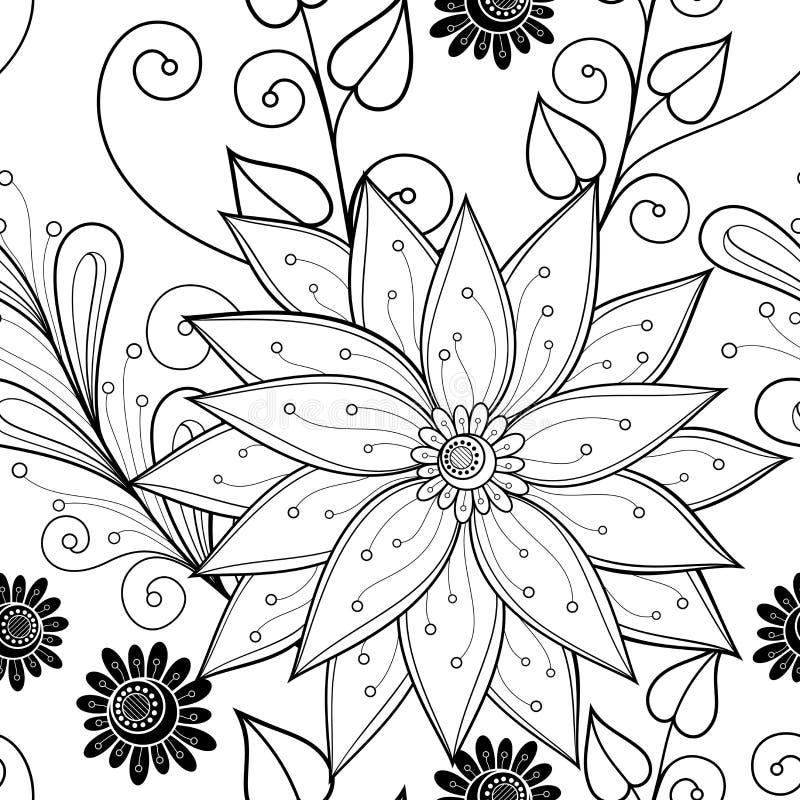 Sömlös monokrom blom- modell (vektorn) royaltyfri illustrationer