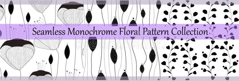 Sömlös monokrom blom- modellsamling för vektor Utdragna texturer för elegant hand för tryck, papper som slår in, textil royaltyfri illustrationer