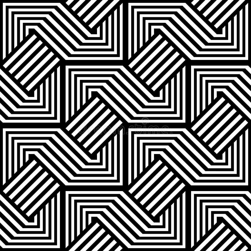 Sömlös monokrom geometrisk modell för design vektor illustrationer