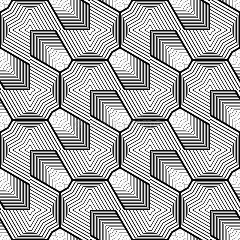 Sömlös monokrom geometrisk modell för design royaltyfri illustrationer