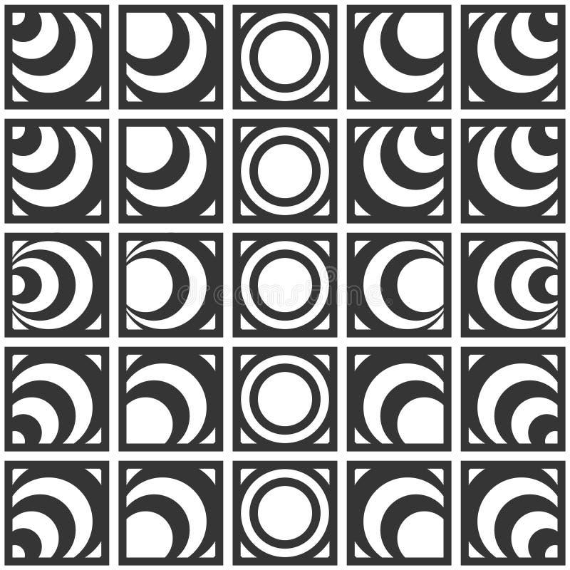 Sömlös monokrom geometrisk modell för vektor av cirklar royaltyfri illustrationer