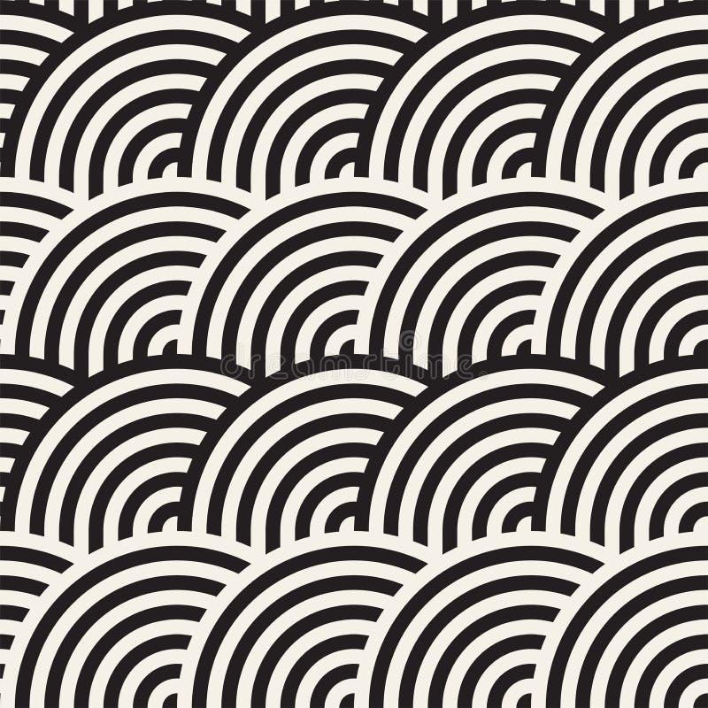 Sömlös monokrom geometrisk modell geometrisk abstrakt bakgrund Stilfull vektor rundade linjer tryck stock illustrationer