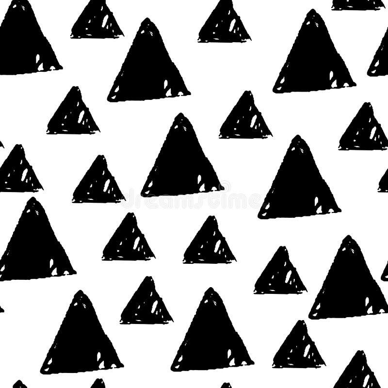 Sömlös monokrom geometrisk modellbakgrund med skissar triangeln för textildesign, modeaffisch vektor illustrationer