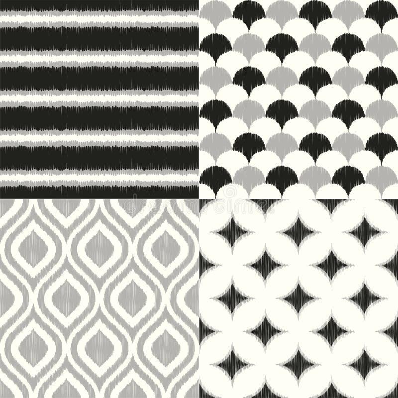 Sömlös monokrom geometrisk textilbakgrundsmodell för hemmiljödesign royaltyfri illustrationer