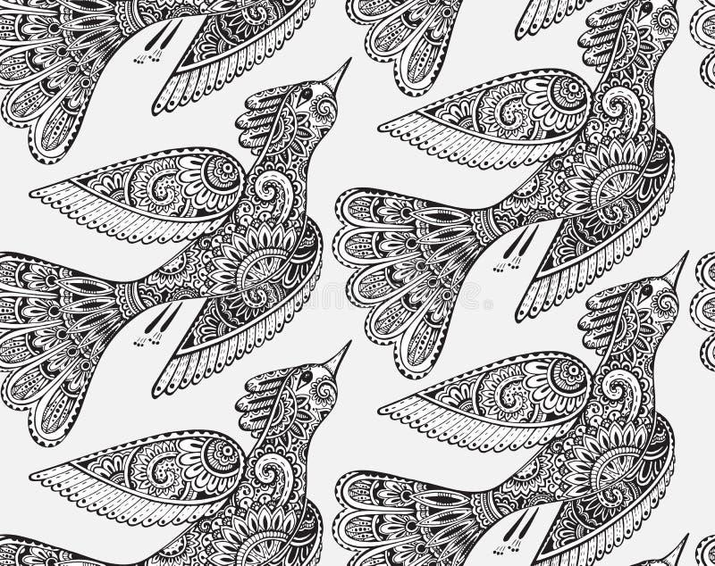 Sömlös monokrom modell med hand drog fåglar vektor illustrationer