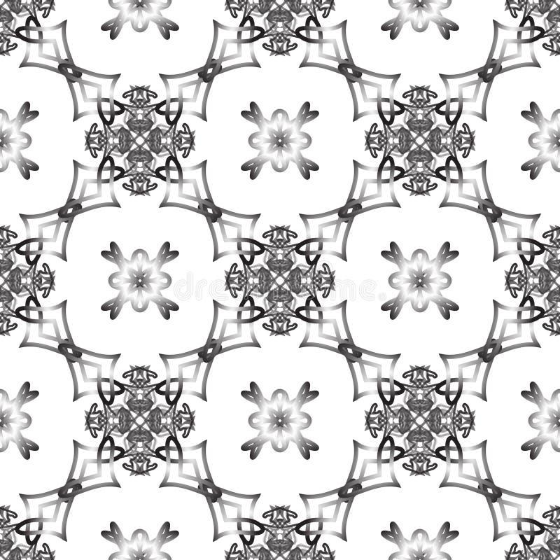 Sömlös monokrom vävd modell royaltyfri illustrationer