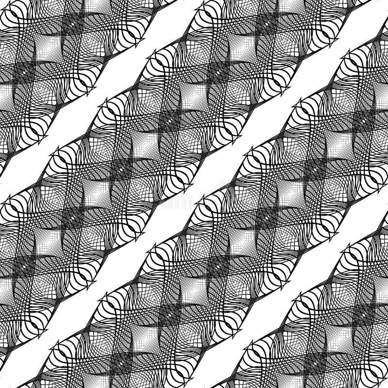 Sömlös monokrom vinkande modell för design royaltyfri illustrationer