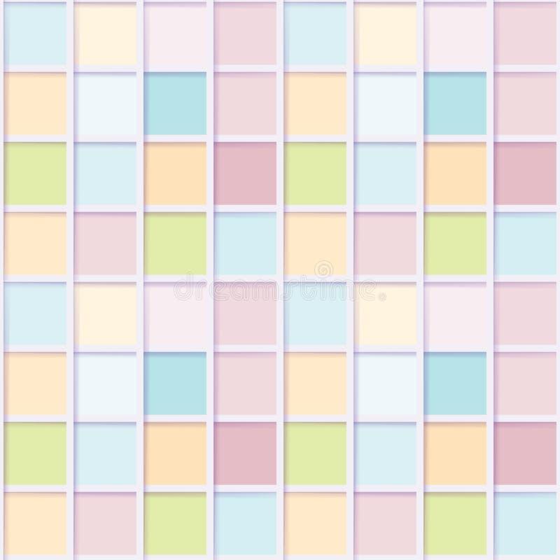 Sömlös mosaik från färgrika fyrkanter stock illustrationer