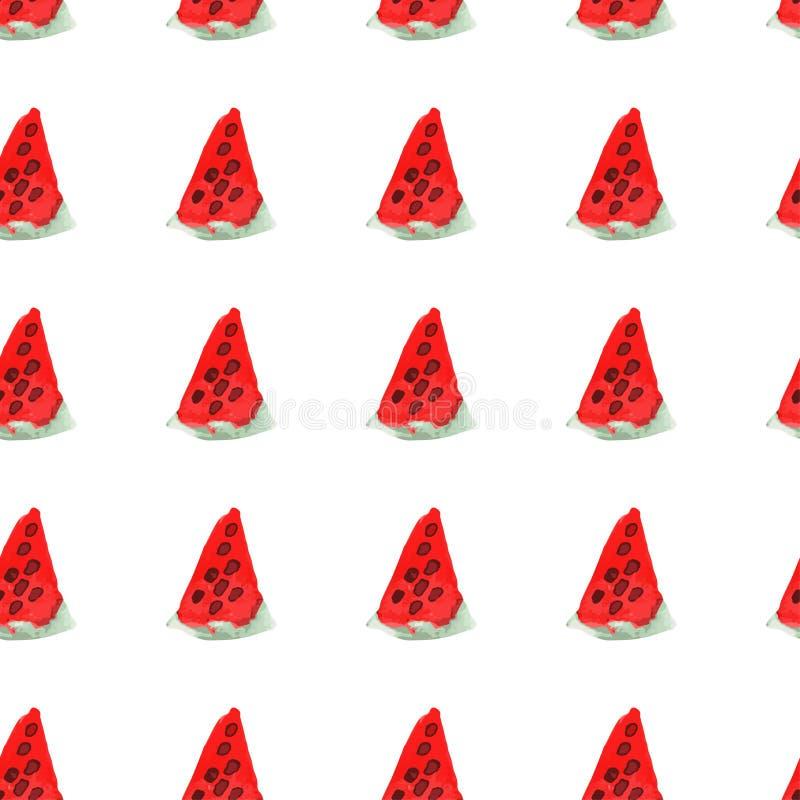 Sömlös naturlig färgmodell av den röda mogna vattenmelon Naturlig sömlös modell av trädgårds- marknadsfrukter stock illustrationer