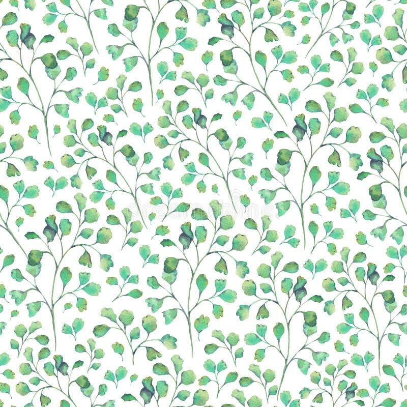 Sömlös naturlig modell för vattenfärg med gröna sidor royaltyfri illustrationer