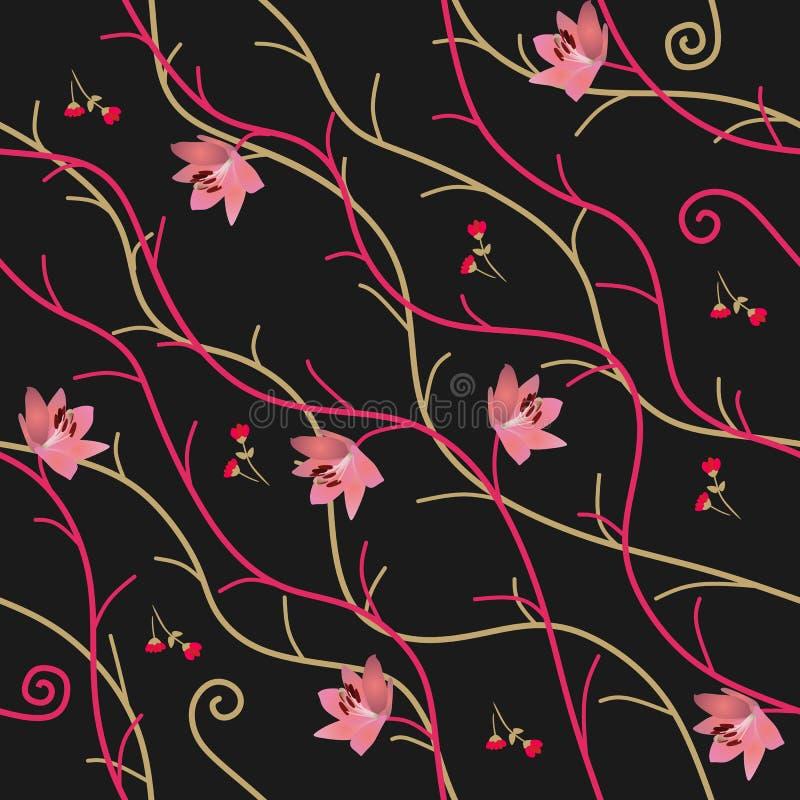 Sömlös naturlig prydnad med abstrakta filialer, rosa liljablommor och röda knoppar på svart bakgrund i vektor Tryck för tyg stock illustrationer