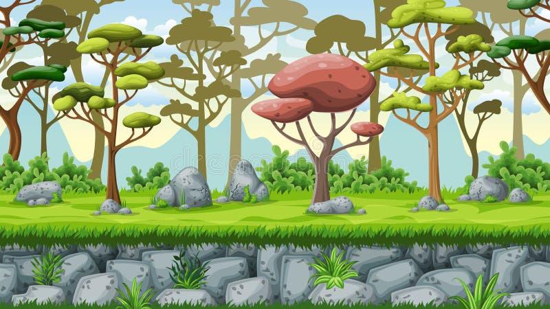 Sömlös naturtecknad filmbakgrund royaltyfri illustrationer