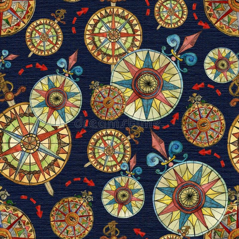 Sömlös nautisk bakgrund med vindkompasset och röd pil på blått vektor illustrationer