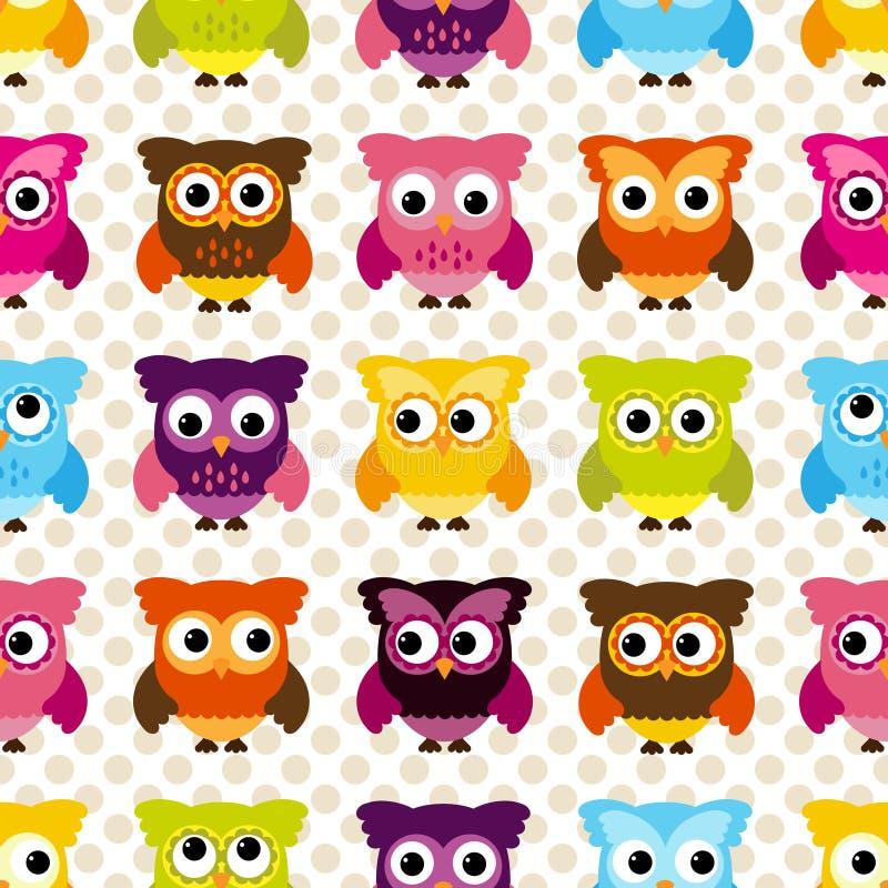 Sömlös och Tileable vektor Owl Background Pattern royaltyfri illustrationer