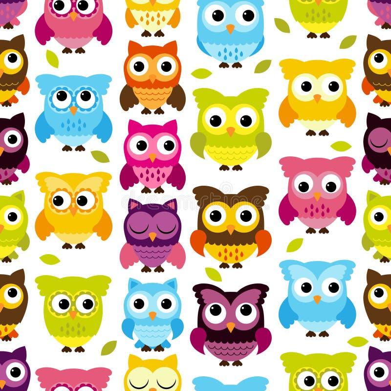 Sömlös och Tileable vektor Owl Background Pattern vektor illustrationer