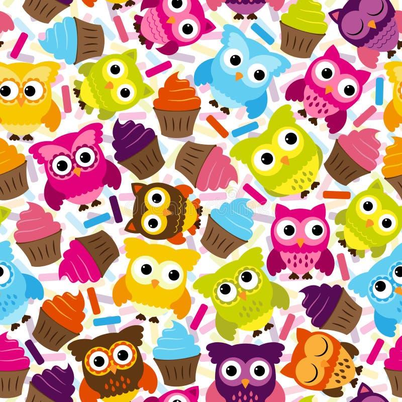 Sömlös och Tileable vektor Owl Background Pattern stock illustrationer