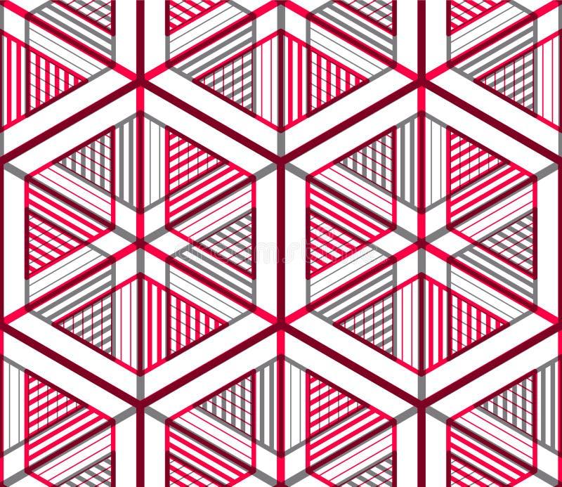 Sömlös optisk dekorativ modell med tredimensionell geome vektor illustrationer